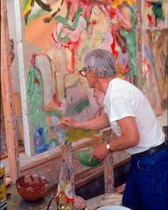 #tbt Willem de Kooning working in his studio with paints and safflower oil, 1971