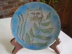 Vintage Cat Plate, Hand Made Blue Cat Plate, Enamel on Copper Cat Plate