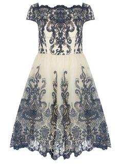 Dorothy Perkins Chi Chi London Curve Cap Sleeve Baroque Tea Dress, $89; us.dorothyperkins.com