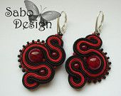 Sabo Des.    Kiss From A Rose - soutache earrings,  handmade, embroidered in red and black satin strips, TOHO beads. Perfect gift - oaak.