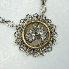 SteamPunk Victorian Flower Button Necklace by NicolettesJewelry