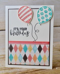 Timeless and ageless birthday card for all ages! Free tutorial on my blog! #stampinbj.com