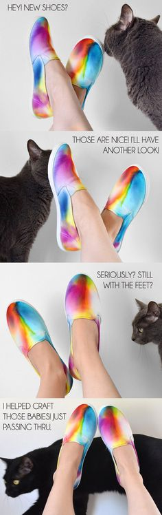 How your rainbow sneakers end up is completely to chance. No two pairs will look the same!