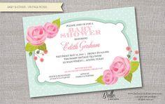 Baby Shower Invitation - Vintage Roses for Girl- DIY Printable - Mint & Pink on Etsy, $12.50
