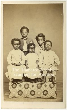 Labelled: post mortem photography. I think that all 5 children in the photo are…