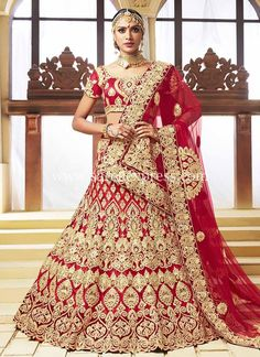 Red net silk embroidered bridal wedding lehenga in 2019 desi Indian Wedding Gowns, Indian Bridal Lehenga, Indian Bridal Outfits, Indian Dresses, Bridal Dresses, Choli Designs, Lehenga Designs, Bed Designs, Lehenga Saree
