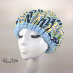 Hot Head Deep Conditioning Microwavable Heat Cap - Treatment for Dry Hair  - Hair Care Product  - Light Blue Chevron Reversible