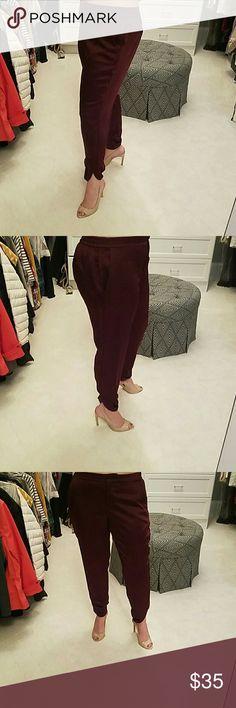 White house black market burgundy pants Gorgeous burgundy satin pants perfect for holidays!!! White House Black Market Pants Ankle & Cropped