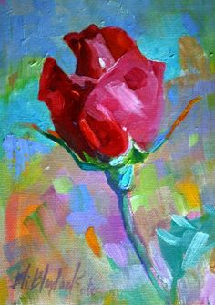ROSE REACHING FOR A KISS, painting by artist Elizabeth Blaylock