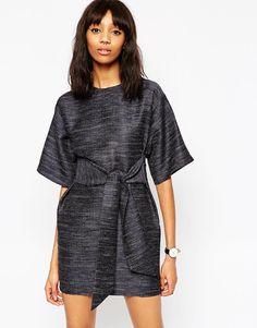 Image 1 ofASOS Tie Front Dress in Natural Fibre