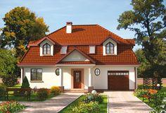 Zwartą bryłę budynku urozmaicają liczne lukarny a także efektowny portyk wejściowy oraz loggia.