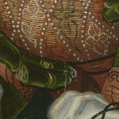 CRANACH DIGITAL ARCHIVE Peter-and-Paul-Altarpiece: The Lamentation of Christ about 1520 - 1525  Again, being laced through the trim.  Also, LOVE that tri color embroidery!