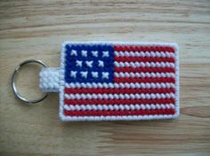 These would make great luggage tags to help you identify your luggage at baggage claim. Plastic Canvas Ornaments, Plastic Canvas Crafts, Plastic Canvas Patterns, Peler Beads, Patriotic Crafts, Canvas Designs, Tissue Box Covers, Yarn Crafts, Kids Crafts