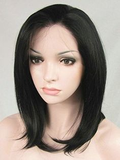 Ebingoo Black 1# Bob Lace Front Wig Straight Heat Resistant Synthetic Hair Brazilian Medium Women's Wigs