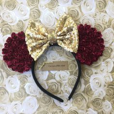 Burgundy and Gold Mickey Mouse Ears, Mouse Ears Headband, Disney Themed Belle Headband, Minnie Bow, Burgundy Flower Mouse Ears Headband by CaliandMeBoutique on Etsy https://www.etsy.com/listing/582188981/burgundy-and-gold-mickey-mouse-ears