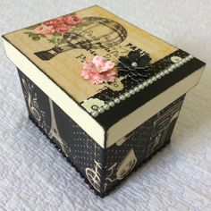 nice inspiration for using little bits of this and that to decorate a box