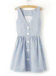 Elegant Women's V-Neck Single-Breasted Striped Sleeveless Skater Dress