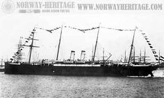 """My Grandfather came to America on this ship.  """"The ship was 432 ft in length, 45 ft in breadth and had a gross weight of 4,510 tons. She had a straight bow, two funnels, and four masts."""" from http://www.genemaas.net/ships.htm#SS Elbe"""