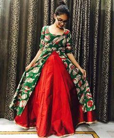 Latest designs of ladies kurtis - ArtsyCraftsyDad Kalamkari Designs, Churidar Designs, Kurta Designs Women, Long Gown Dress, Anarkali Dress, Frock Dress, Kalamkari Dresses, Frock For Women, Indian Gowns Dresses