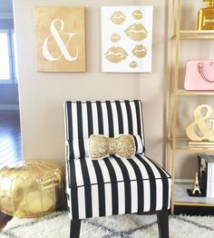 Striped fabric is ideal for upholstering furniture into statement pieces. The only consideration when upholstering pieces with stripes, or any patterned fabric for that matter, is making sure that everything lines up.
