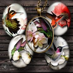 Hummingbirds  Digital Collage Sheet CG578O  by CobraGraphics, $4.20