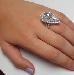 AMAZING HUGE 15 Carats  Pear cut Halo DIAMOND Engagement Ring 14K SOLID GOLD