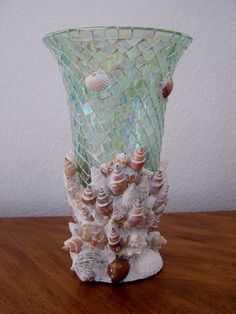 Mouse over image to zoom      Beautiful Aqua Mosaic Glass & Real Seashells Tall Vase Beach Cottage Tropical