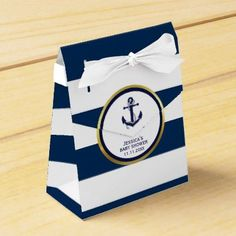 #gold - #Elegant Nautical Navy Blue White Baby Shower Gift Favor Box