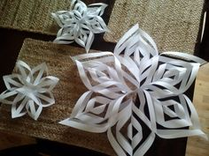 Materials: Six (or 7 for a fuller snowflake) pieces of paper (white copy paper will do, although you can use more elaborate types) Scissors Clear tape Stapler   What to do: