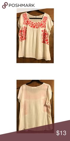 """Short Sleeve Peasant Style Top Short sleeve peasant style top with pink embroidery from Maurice's.  -It is a size 2 which is equal to a 20 or 22 top size.  -Recommended Measurements:      ~Bust: 47"""" to 49""""      ~Waist: 38"""" to 40""""      ~Hips: 48"""" to 50"""" Maurices Tops Blouses"""