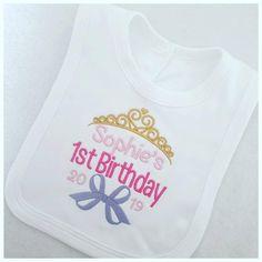 Personalised Birthday Baby Bib, Baby Clothing, First Birthday, Girl Baby Girl Gifts, New Baby Gifts, Personalized Toddler Backpack, Personalised Baby, 1st Birthdays, Baby Bibs, New Baby Products, My Etsy Shop, Check
