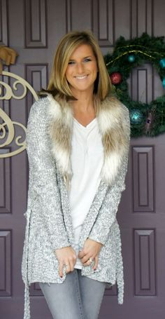 Fall trend alert! Faux fur collars are a simple way to add a little something extra to a casual, cozy look.