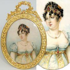Rare Antique French Portrait Miniature: Caroline Murat, Sister of Napoleon I