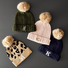 With a soft faux fur pom pom, these knitted hats are the perfect accessory to keep you warm all winter long. Add an embroidered monogram for an easy, yet thoughtful holiday gift. Fur Pom Pom Hat, Crochet Patterns For Beginners, Cool Hats, Warm Outfits, Winter Accessories, Fur Trim, Crochet Baby, Knitted Hats, Knitting