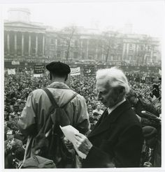 Bertrand Russell, almost 90, preparing to speak on a Campaign for Nuclear Disarmament rally in Trafalgar Square.