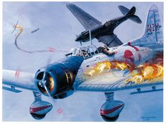 Val ~ Aichi D3A ~ Welch and Taylor downing a Val from Akagi by Tom Freeman.~ BFD