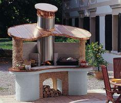 barbecue fixe avec toiture en cuivre