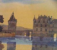 SUNSET CHATEAU CHENONCEAU Watercolor Print Pierre Deux Style FRANCE