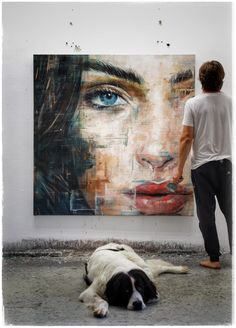 Handmade Oil Painting On Canvas Abstract Painting Industrial Abstract – cauliflowerral Abstract Portrait Painting, Portrait Art, Painting & Drawing, Portraits, Belly Painting, Portrait Paintings, Arte Pop, Face Art, Art Studios
