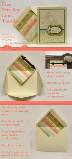 SHARING CREATIVITY and COMPANY: Envelope Liners Using Stampin' Up!'s Envelope Punch Board - Free Tutorial