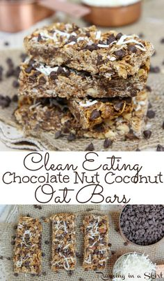 Nut Coconut Oat Bars - Healthy Clean Eating Chocolate Nut Coconut Oatmeal Bars – Easy, Only 7 Ingredients! These soft a -Chocolate Nut Coconut Oat Bars - Healthy Clean Eating Chocolate Nut Coconut Oatmeal Bars – Easy, Only 7 Ingredients! These soft a - Clean Eating Oatmeal, Clean Eating Chocolate, Clean Eating Desserts, Oatmeal Bars Healthy, Eating Healthy, Eating Clean, Healthy Homemade Granola Bars, Baked Oatmeal Bars, Homemade Oatmeal Bars