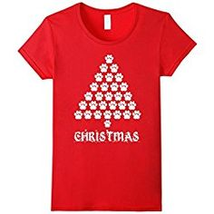 Women's Paws Christmas Tree - Funny Christmas Dog T-Shirt Small Red Funny Christmas, Christmas Tree, Dogs, Red, T Shirt, Teal Christmas Tree, Supreme T Shirt, Tee, Xmas Trees