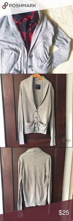 American Eagle Outfitters | Shawl-collar cardigan This gray cardi features a shawl collar and front button placket. In good preworn condition--some pilling of the material visible upon close inspection. No trades or PayPal. American Eagle Outfitters Sweaters Cardigans