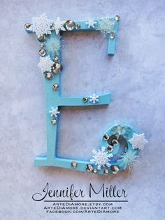 Blue and Snowflakes Curly Letter Cake Topper by ArteDiAmore, $15.00