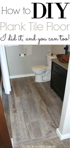 DIY How to Lay Bathroom Floor Tile Planks | Our master suite bathroom floor is rustic and fun with the light tile that looks like wood and dark gray grout. These porcelain tile ideas and farmhouse designs are simple and beautiful. This tutorial to install your own large plank wood-look tiles on a budget will make you feel like a professional! I love the contrast of the grey-brown planks, white trim, dark vanity, and copper vessel sink. #farmhouse #tile #decor