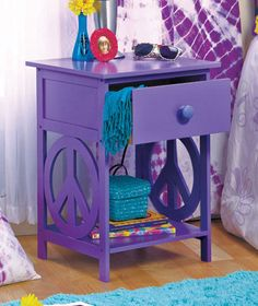 Purple Peace Sign Table Night Stand Teens Retro Furniture Side Table