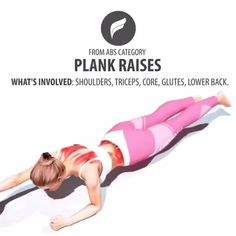 Plank raises to get flatter abs and a stronger core. Back Fat Workout, Plank Workout, 30 Day Workout Challenge, Workout Schedule, Physical Fitness, Yoga Fitness, Health Fitness, Fitness Biology, Fun Workouts