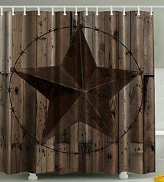Western Decor Southwestern Primitive Shower Curtain Barbwire Star In Wooden  Plank Home Decorations And Fashion Design Decor Bathroom Gifts For Man Cave  Men ...