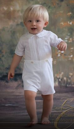 Feltman Brothers Boy's White Button On Shortall Romper.