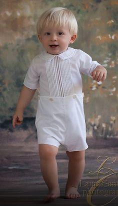 Feltman Brothers Boy's White Button On Shortall Romper.